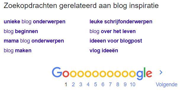 google gerelateerde zoekopdrachten