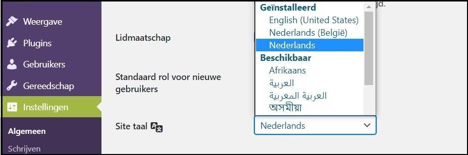 wordpress naar nederlands