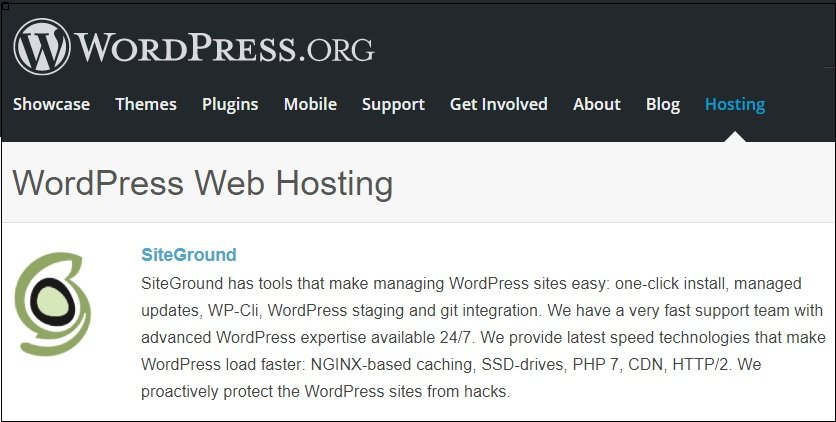 wordpress.org siteground web hosting